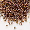 Seed bead, Delica®, glass, opaque 24Kt gold-finished rainbow black, (DB506), #11 round. Sold per pkg of 4 grams.