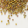 Seed bead, Delica®, glass, opaque 24Kt gold-finished rainbow rose, (DB501), #11 round. Sold per pkg of 50 grams.