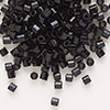 Seed bead, Delica®, glass, opaque black, (DB10CUT), #8 cut. Sold per 50-gram pkg.