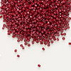 Seed bead, Delica®, glass, opaque brick red, (DB654), #11 round. Sold per 7.5-gram pkg.