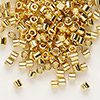 Seed bead, Delica®, glass, opaque bright 24Kt gold-finished, (DBL31), #8 round. Sold per 7.5-gram pkg.