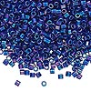 Seed bead, Delica®, glass, opaque cobalt blue AB, (DBL165), #8 round, 1.5mm hole. Sold per pkg of 250 grams.
