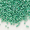 Seed bead, Delica®, glass, opaque galvanized dark mint green, (DB426), #11 round. Sold per 50-gram pkg.
