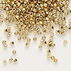 Seed bead, Delica®, glass, opaque light 24Kt gold-finished, (DB34), #11 round. Sold per pkg of 4 grams.