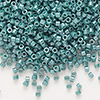 Seed bead, Delica®, glass, opaque luster deep sea teal, (DB264), #11 round. Sold per pkg of 50 grams.