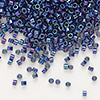 Seed bead, Delica®, glass, opaque luster rainbow midnight purple, (DB135), #11 round. Sold per pkg of 7.5 grams.