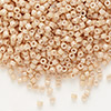 Seed bead, Delica®, glass, opaque luster tan, (DB208), #11 round. Sold per pkg of 50 grams.