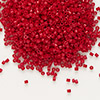 Seed bead, Delica®, glass, opaque matte candy apple red, (DB791), #11 round. Sold per 7.5-gram pkg.