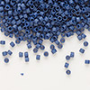 Seed bead, Delica®, glass, opaque matte luster dark violet, (DB377), #11 round. Sold per pkg of 7.5 grams.