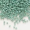 Seed bead, Delica®, glass, opaque matte luster sea foam green, (DB374), #11 round. Sold per pkg of 50 grams.
