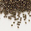 Seed bead, Delica®, glass, opaque matte metallic dark gold, (DB322), #11 round. Sold per pkg of 7.5 grams.