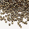 Seed bead, Delica®, glass, opaque matte metallic dark gold, (DBL322), #8 round. Sold per 7.5-gram pkg.