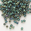 Seed bead, Delica®, glass, opaque matte metallic rainbow dark green, (DBL324), #8 round. Sold per 7.5-gram pkg.
