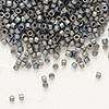 Seed bead, Delica®, glass, opaque matte rainbow medium grey, (DB307), #11 round. Sold per pkg of 50 grams.