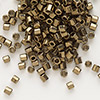 Seed bead, Delica®, glass, opaque metallic bronze, (DBL22CUT), #8 cut. Sold per 50-gram pkg.