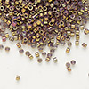 Seed bead, Delica®, glass, opaque metallic luster rainbow rose, (DB1010), #11 round. Sold per pkg of 50 grams.