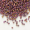 Seed bead, Delica®, glass, opaque metallic luster rainbow strawberry, (DB1013), #11 round. Sold per pkg of 7.5 grams.