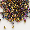 Seed bead, Delica®, glass, opaque metallic rainbow light bronze, (DBL23), #8 round. Sold per 50-gram pkg.