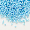 Seed bead, Delica®, glass, opaque rainbow turquoise blue, (DB164), #11 round. Sold per pkg of 7.5 grams.