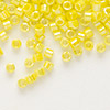Seed bead, Delica®, glass, opaque rainbow yellow, (DB160), #11 round. Sold per pkg of 7.5 grams.