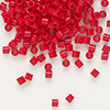 Seed bead, Delica®, glass, opaque red, (DBL723), #8 round, 1.5mm hole. Sold per pkg of 50 grams.