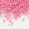 Seed bead, Delica®, glass, opaque rose, (DB1371), #11 round. Sold per 50-gram pkg.