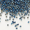 Seed bead, Delica®, glass, opaque steel blue, (DB514), #11 round. Sold per pkg of 50 grams.