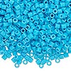 Seed bead, Delica®, glass, opaque turquoise blue, (DBL725), #8 round, 1.5mm hole. Sold per pkg of 50 grams.
