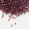 Seed bead, Delica®, glass, silver-lined dark rose, (DB1342), #11 round. Sold per 50-gram pkg.