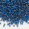 Seed bead, Delica®, glass, silver-lined frosted medium blue, (DB693), #11 round. Sold per 50-gram pkg.