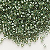 Seed bead, Delica®, glass, silver-lined frosted moss, (DB689), #11 round. Sold per 7.5-gram pkg.