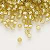 Seed bead, Delica®, glass, silver-lined frosted yellow-green, (DB687), #11 round. Sold per 7.5-gram pkg.