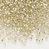 Seed bead, Delica®, glass, silver-lined light gold, (DB1432), #11 round. Sold per pkg of 50 grams.