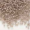 Seed bead, Delica®, glass, silver-lined opal dark brown, (DB1460), #11 round. Sold per pkg of 7.5 grams.