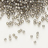 Seed bead, Delica®, glass, silver-lined opal dark grey, (DB631), #11 round. Sold per 50-gram pkg.
