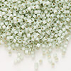 Seed bead, Delica®, glass, silver-lined opal sea green, (DB1454), #11 round. Sold per pkg of 50 grams.