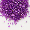 Seed bead, Delica®, glass, silver-lined red violet, (DB1345), #11 round. Sold per 7.5-gram pkg.