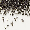 Seed bead, Delica®, glass, silver-lined smoke, (DB613), #11 round. Sold per 50-gram pkg.