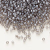 Seed bead, Delica®, glass, translucent steel grey, (DB1486), #11 round. Sold per pkg of 7.5 grams.