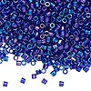 Seed bead, Delica®, glass, transparent cobalt blue rainbow, (DBL178), #8 round, 1.5mm hole. Sold per 50-gram pkg.