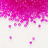 Seed bead, Delica®, glass, transparent hot pink, (DB1310), #11 round. Sold per 7.5-gram pkg.