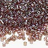 Seed bead, Delica®, glass, transparent luster rainbow brown, (DBL122), #8 round. Sold per 7.5-gram pkg.