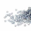 Seed bead, Delica®, glass, transparent luster rainbow light grey, (DB111CUT), #11 cut. Sold per pkg of 50 grams.