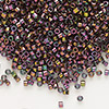 Seed bead, Delica®, glass, transparent luster rainbow olive gold, (DB127), #11 round. Sold per pkg of 50 grams.