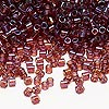 Seed bead, Delica®, glass, transparent luster rainbow raspberry, (DBL104), #8 round. Sold per 50-gram pkg.