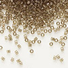 Seed bead, Delica®, glass, transparent luster smoke, (DB123), #11 round. Sold per pkg of 50 grams.