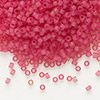 Seed bead, Delica®, glass, transparent matte hot pink, (DB778), #11 round. Sold per 50-gram pkg.