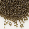 Seed bead, Delica®, glass, transparent matte luster khaki, (DB384), #11 round. Sold per pkg of 7.5 grams.