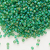 Seed bead, Delica®, glass, transparent matte rainbow pistachio, (DB858), #11 round. Sold per pkg of 7.5 grams.
