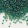 Seed bead, Delica®, glass, transparent rainbow lime, (DB175), #11 round. Sold per pkg of 7.5 grams.